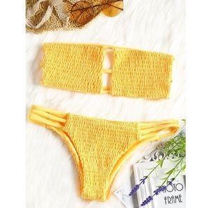 ZAFUL Yellow Smocked Strapless Bikini Set